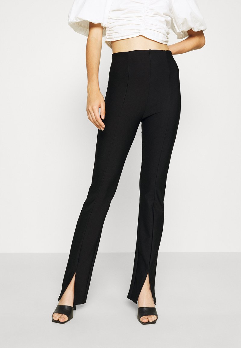 Gina Tricot - FRONT SLIT TROUSERS - Trousers - black