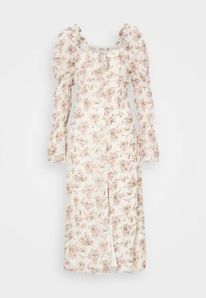 FLORAL FRILL SHOULDER TIE DRESS - Day dress - cream