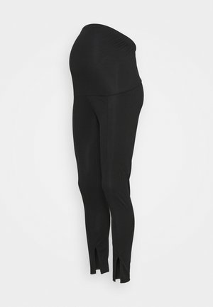 SPLIT FRONT - Leggings - Trousers - black