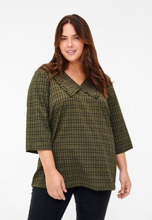 Blouse - ivy green check