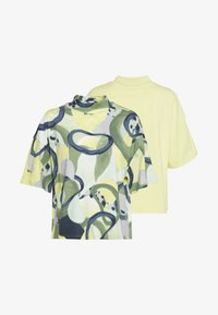 Monki - INA 2 PACK  - T-shirts - yellow/khaki green - 0