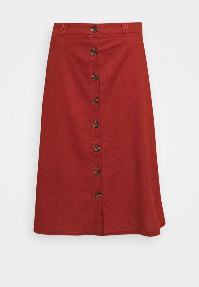 ONLADELINE BIBS LONG BUTTON - A-line skirt - burnt henna