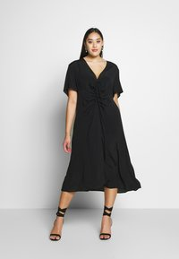 Cotton On Curve - CURVE MARISSA GATHERED FRONT MIDI DRESS - Day dress - black - 1