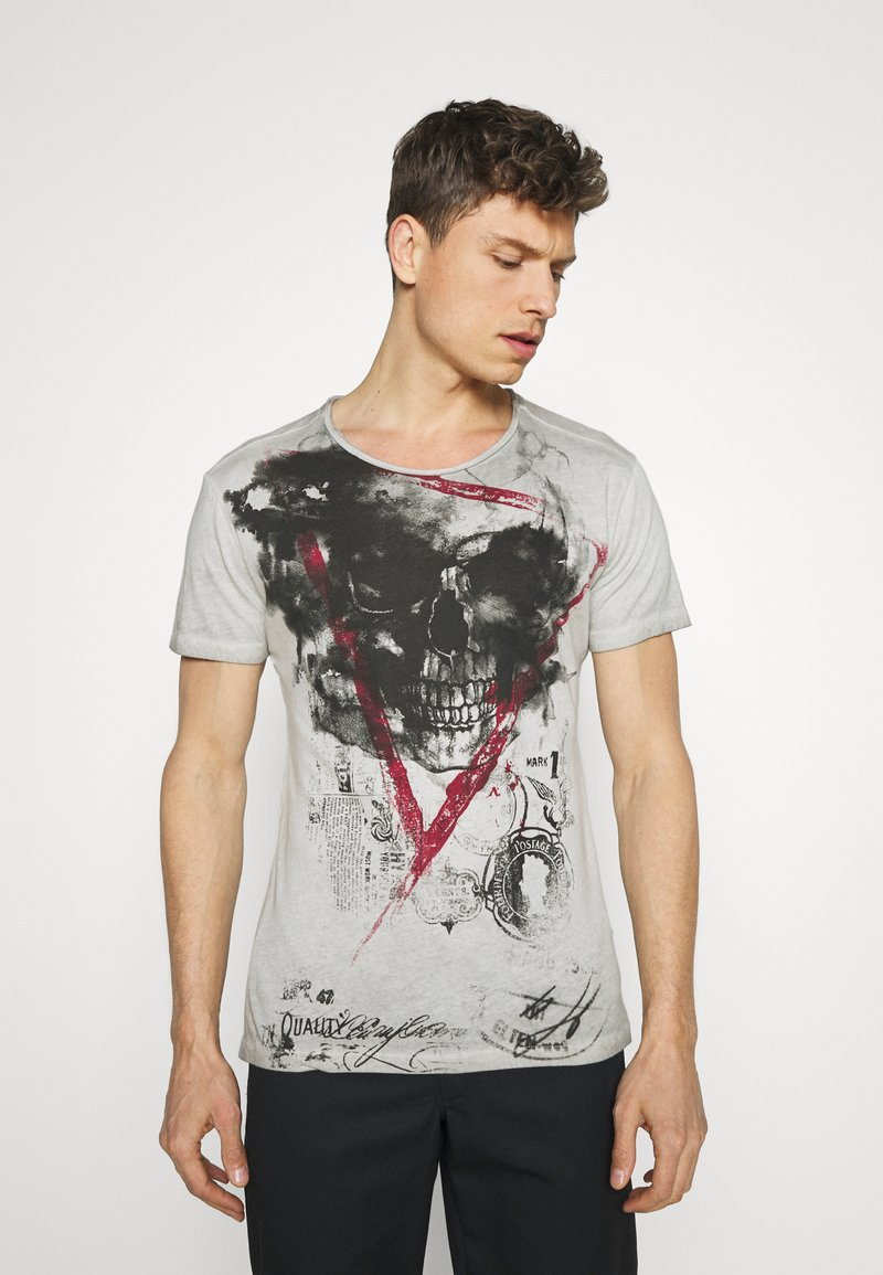 Key Largo - HYPE ROUND - T-shirt con stampa - silver