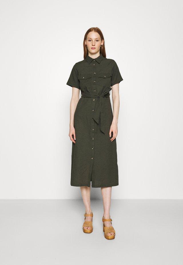 MIDI SHIRT DRESS - Shirt dress - khaki