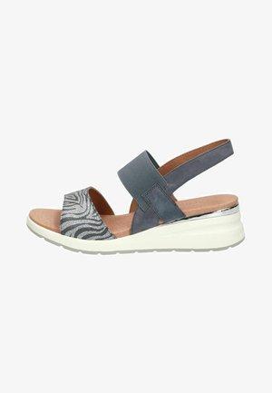 Sandály na platformě - jeans metallic