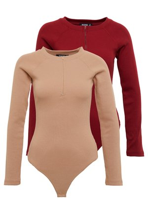 ZIP FRONT BODYSUIT 2 PACK - Long sleeved top - tan/sun dried tomatoe