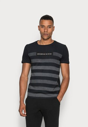 STRIPED PANELPRINT - Print T-shirt - sky captain blue