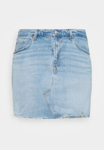 DECONSTRUCTED SKIRT - Mini skirt - light blue denim