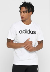 adidas Performance - LIN TEE - T-Shirt print - white/black - 0