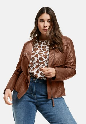 Leather jacket - cocoa brown