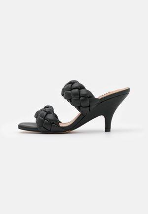 BRAIDED WEDGE MULES - Heeled mules - black