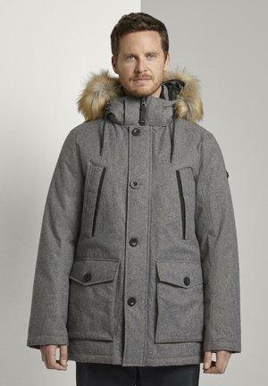 MIT FELLKRAGEN - Winter coat - grey brushed wool optic