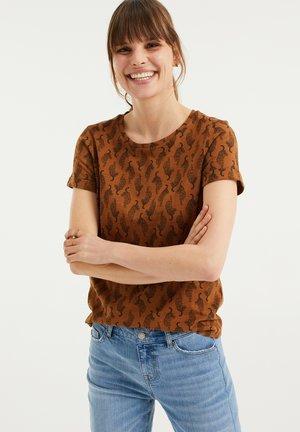 MET LUIPAARDDESSIN - Print T-shirt - cognac