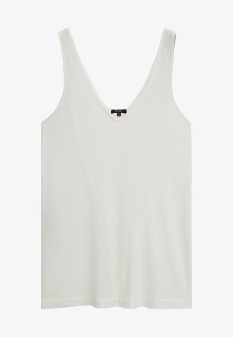 Massimo Dutti - MIT V-AUSSCHNITT - Top - white