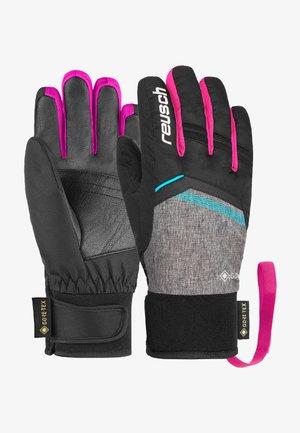Gloves - blck/blck melang/pink glo