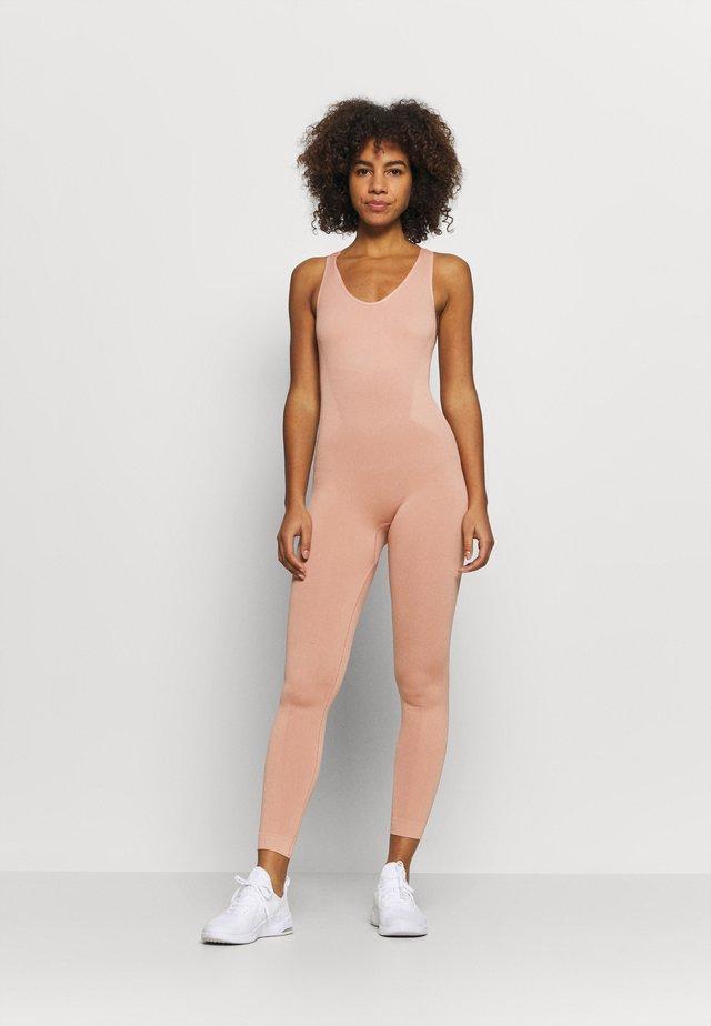 CROSS BACK LONG BODYSUIT - Gym suit - light pink