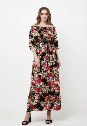 EVRIKA - Maxi dress - schwarz, weinrot