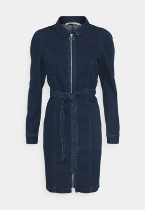 ONLFLEUR LIFE PUFF DRESS - Denim dress - dark blue denim