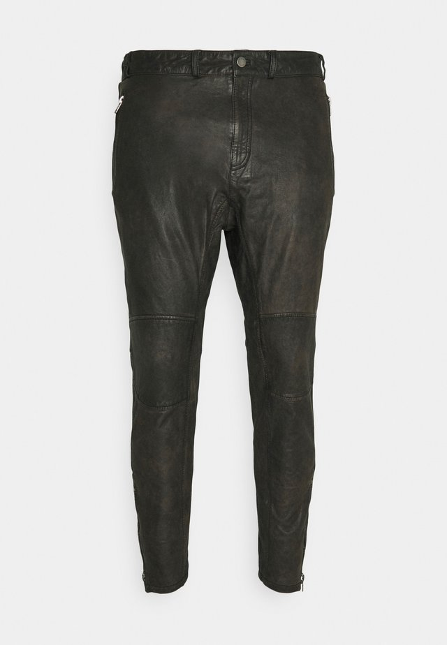 CELSO - Leather trousers - black