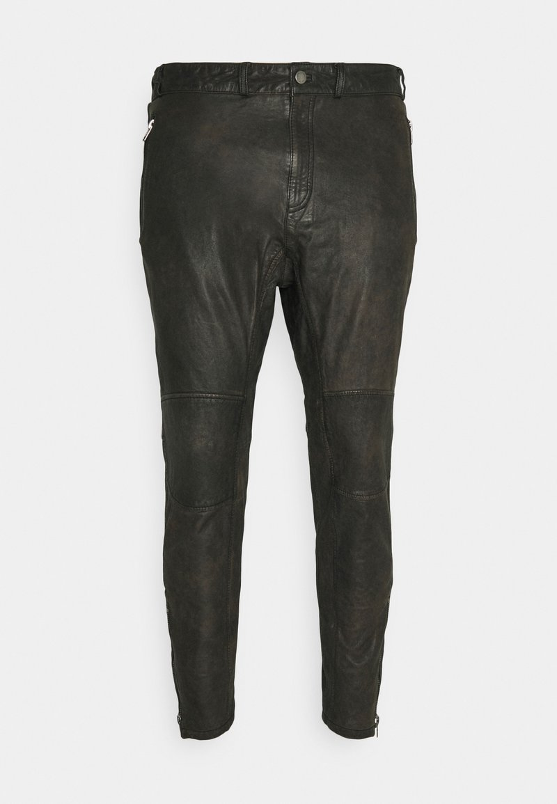 Tigha - CELSO - Leather trousers - black