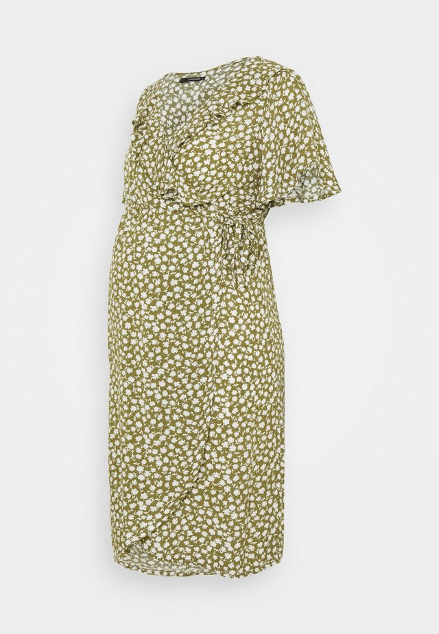 DRESS NURS FLOWER - Vardagsklänning - olive drap