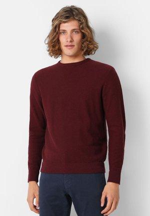 BASIC ROUND NECK SWEATER - Pullover - burgundy melange