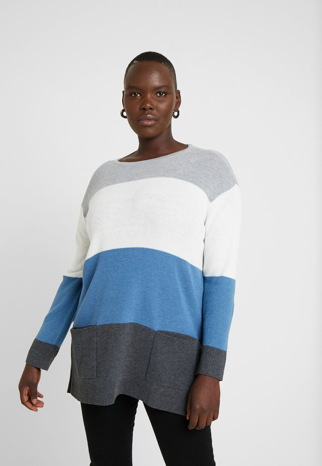 WAFFLE STITCH COLORBLOCK - Sweter - medium heather grey
