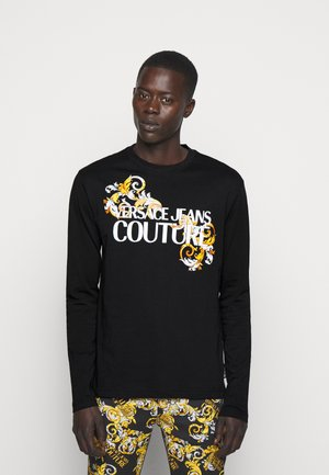 LOGO - Long sleeved top - black/white/gold