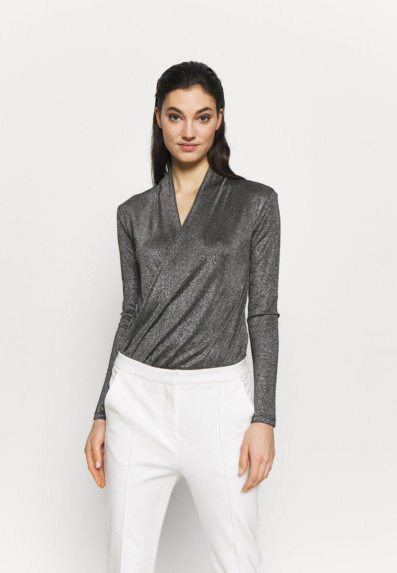 KARL LAGERFELD - WRAP BODY - Long sleeved top - silver