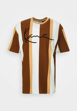 SIGNATURE STRIPE TEE - Print T-shirt - beige