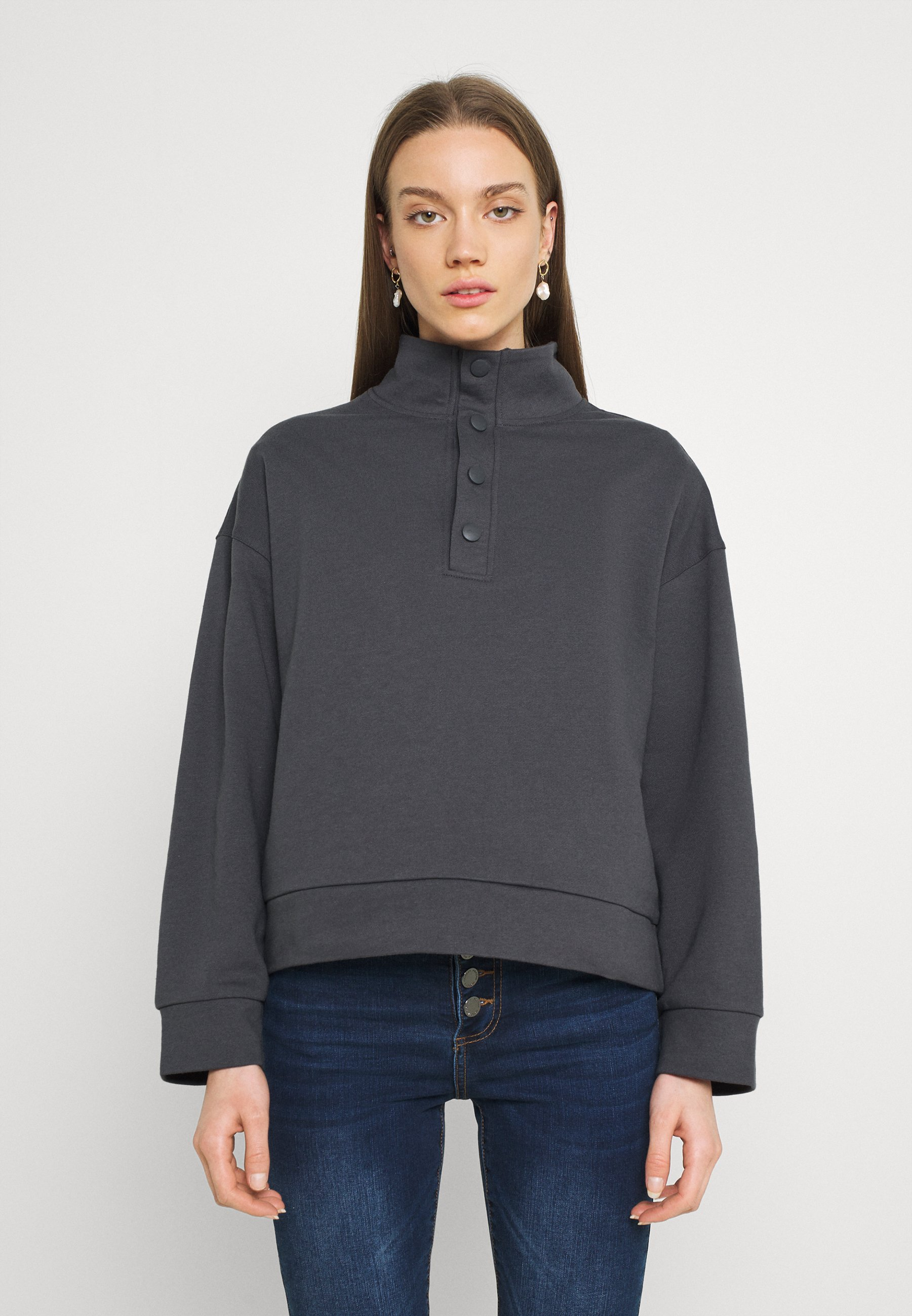 Women OVERSIZED POPPER HIGH NECK - Sweatshirt