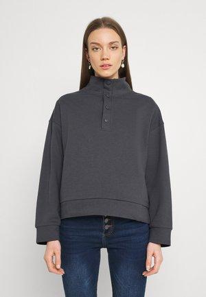 OVERSIZED POPPER HIGH NECK - Sweatshirt - grey