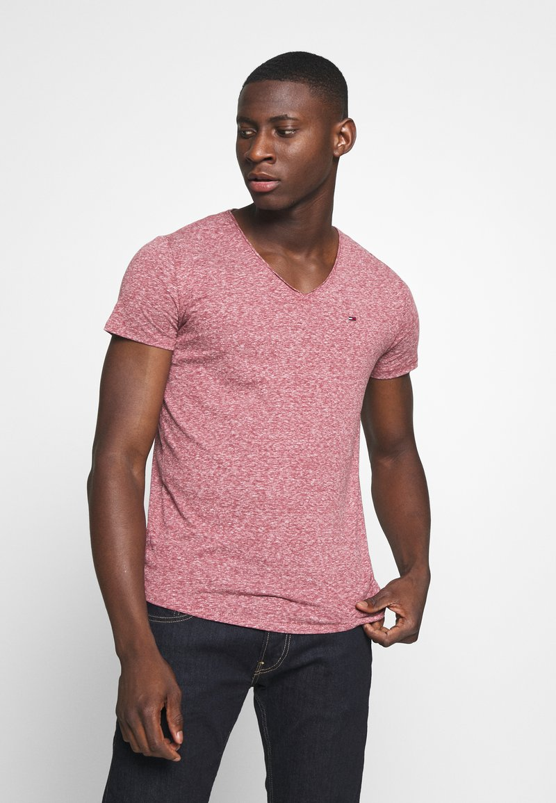 Tommy Jeans - BASIC VNECK TEE SLIM FIT - T-shirt print - wine red