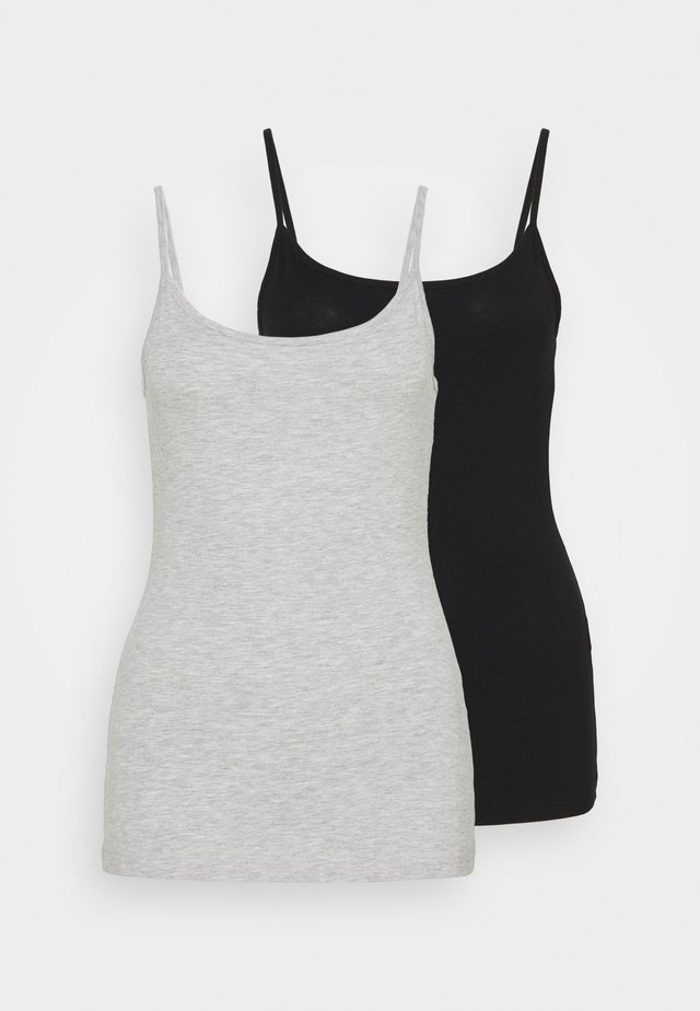 2 PACK - Top - black/mottled light grey