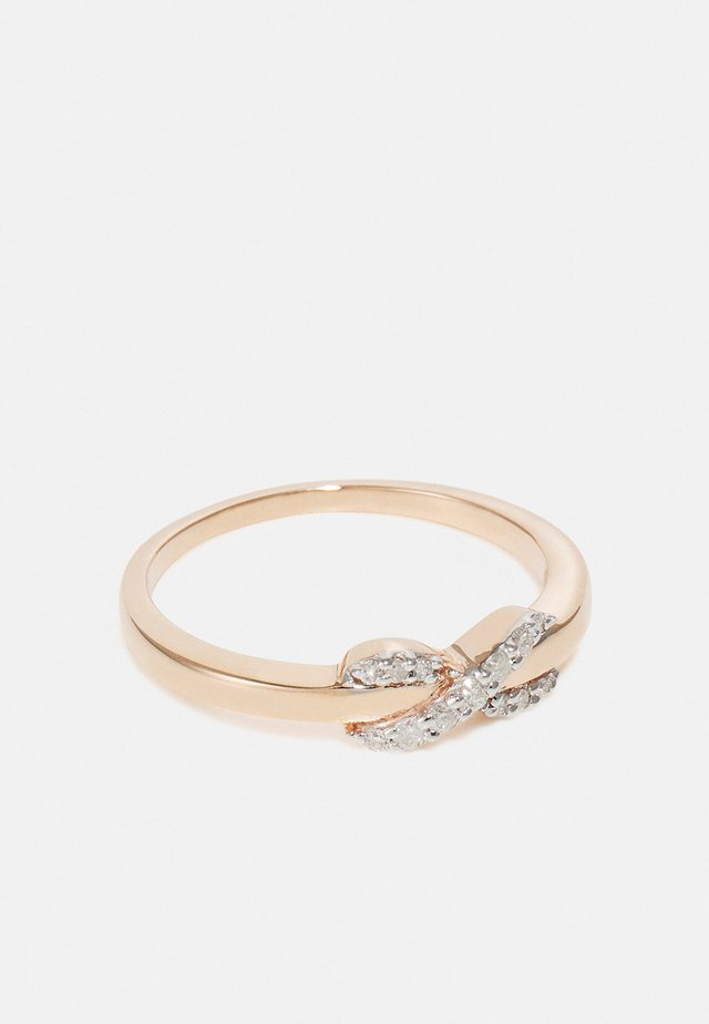 NATURAL DIAMOND RING CERTIFIED 0.1CARAT INFINITY DIAMOND RINGS 9KT ROSE GOLD DIAMOND JEWELLERY GIFTS FOR WOMENS - Bague - rosegold