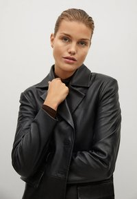 Mango - Leather jacket - schwarz - 4