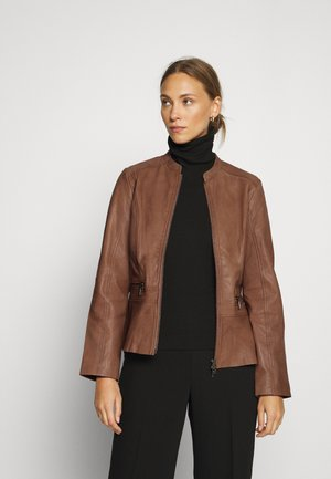 JACKET - Leather jacket - noisette