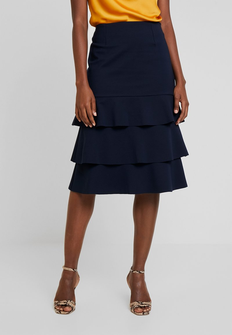 Apart - HEAVY SKIRT WITH VOLANTS - Jupe trapèze - midnightblue