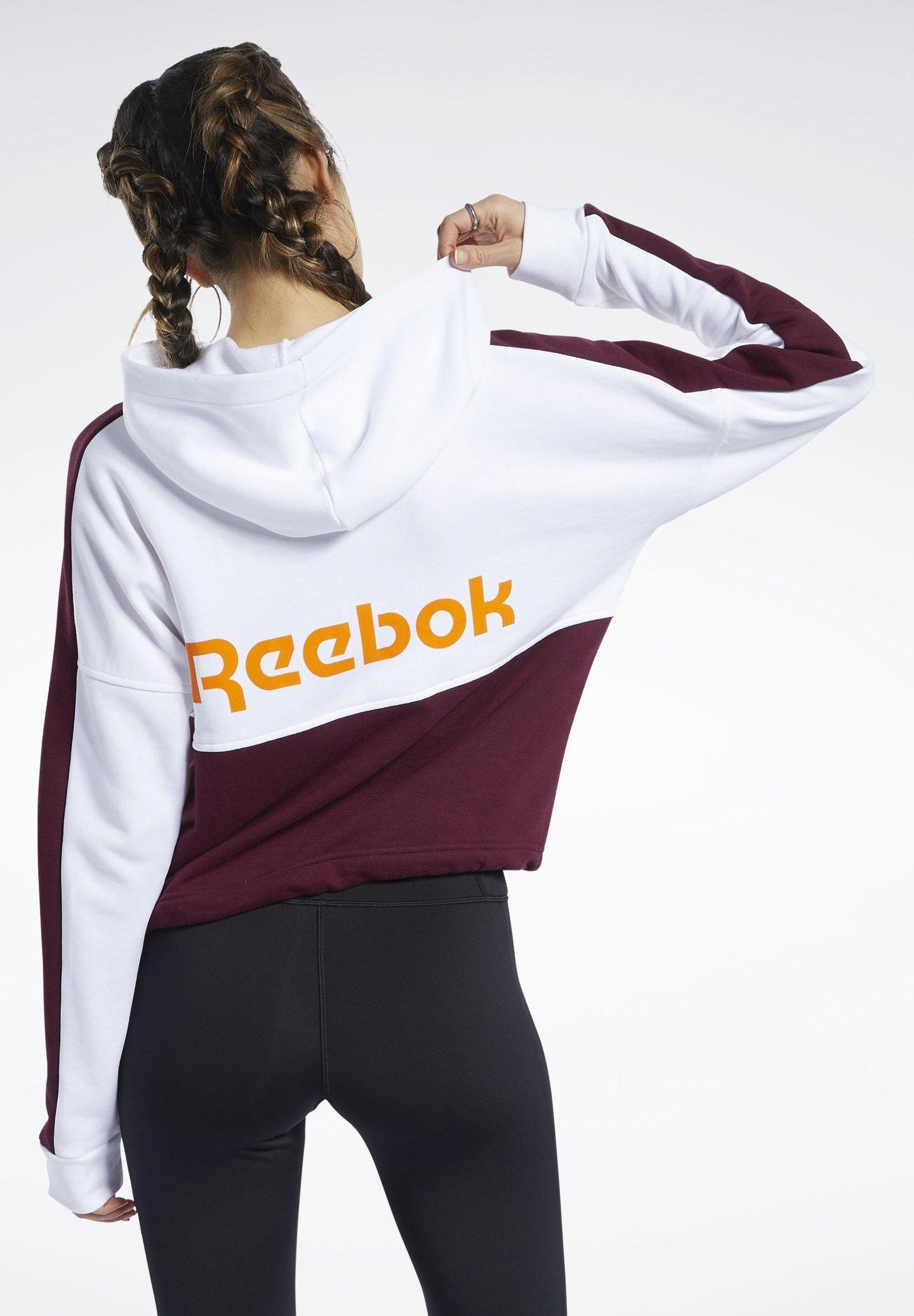 Reebok TRAINING ESSENTIALS LOGO HOODIE - Zip-up hoodie - white yQYji