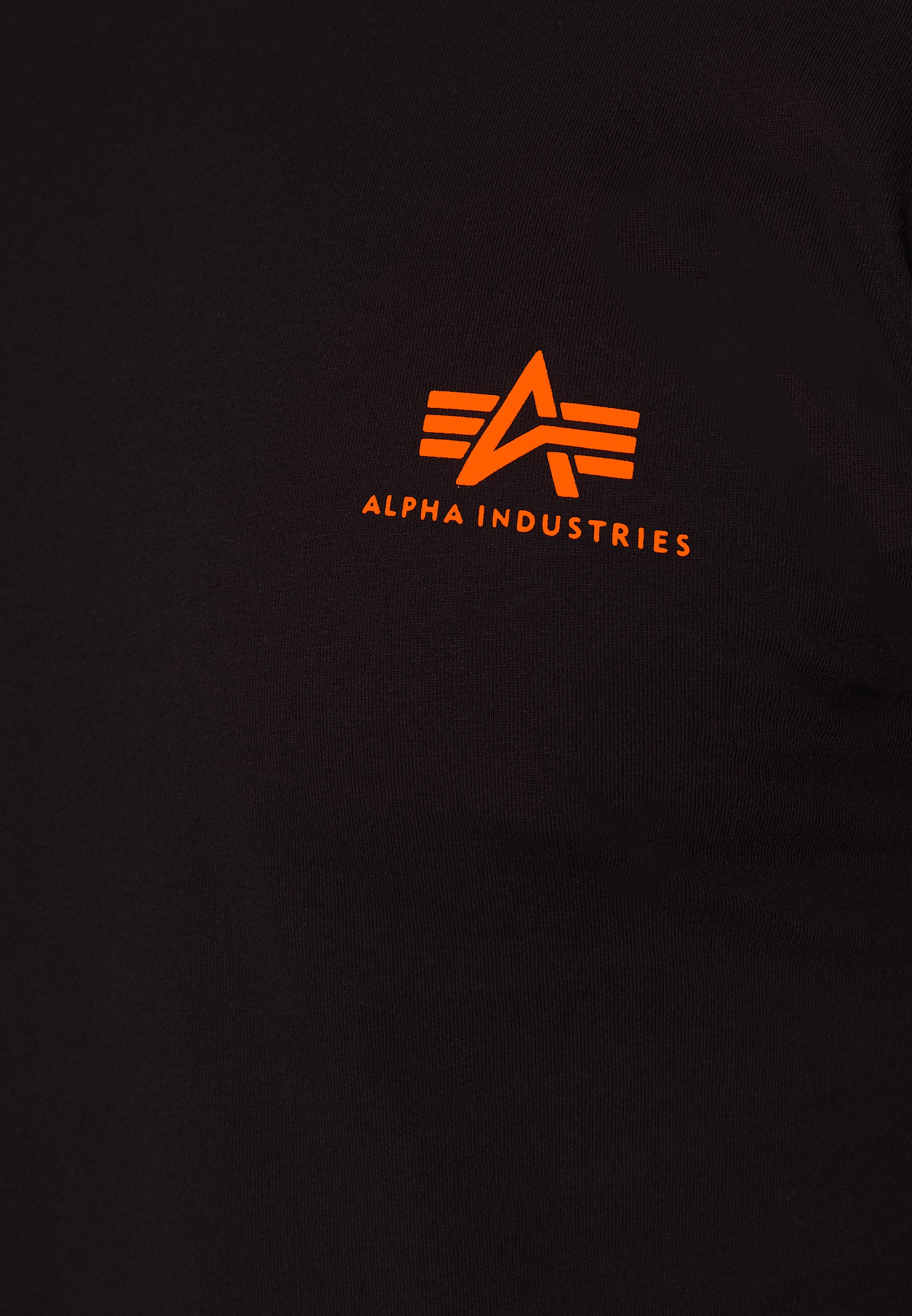 Alpha Industries Small Logo - Bluzka Z Długim Rękawem Black/neon Orange