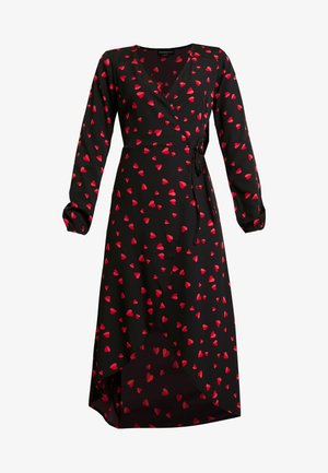LONG SLEEVE MIDAXI WRAP DRESS WITH DIPPED HEM - Sukienka letnia - black/red/pink
