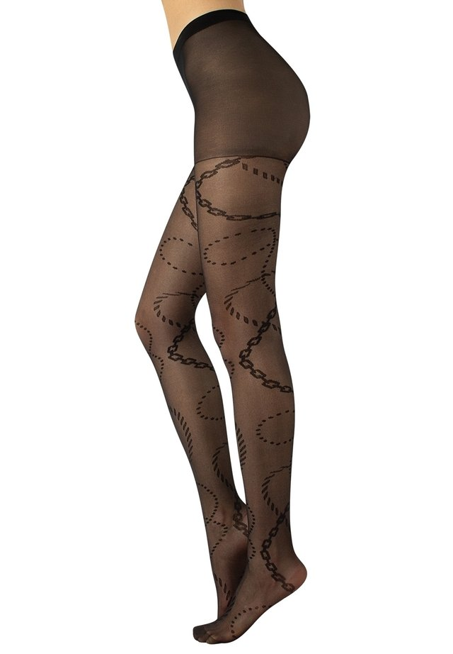 MICRO FISHNET TIGHTS WITH CHAINS PATTERN  - Collant - black