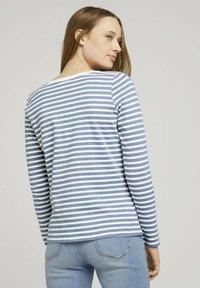 TOM TAILOR DENIM - CONTRAST NECK - Long sleeved top - white blue stripe - 2