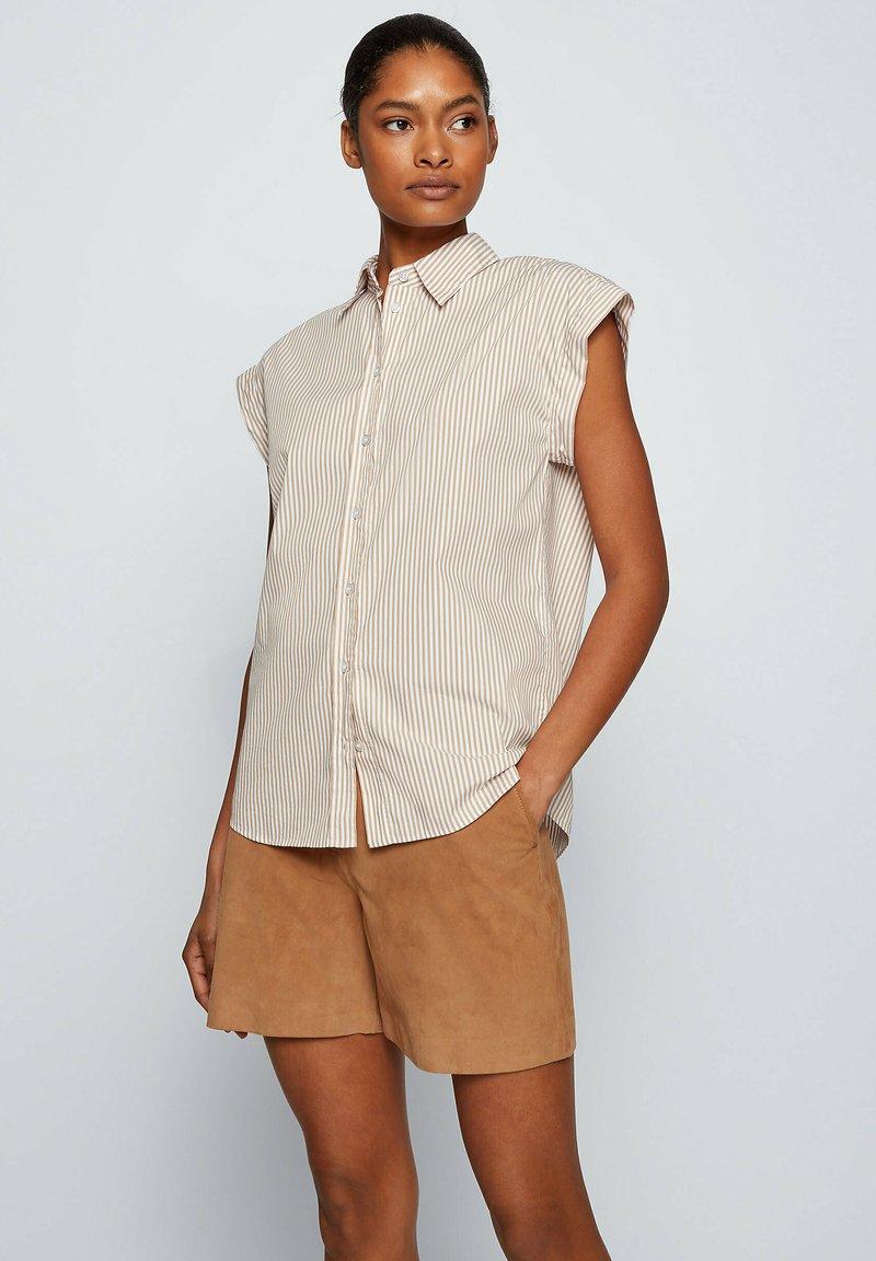 BOSS - BEMIRTA - Button-down blouse - beige