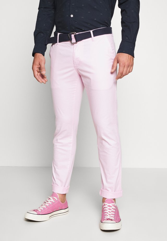 BELTED LIGHT WEIGHT - Chinos - pink lady