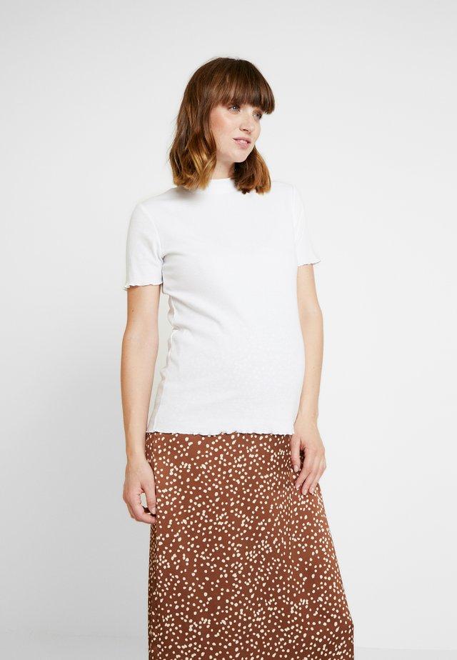 LETTUCE EDGE MOCK NECK SHORT SLEEVE  - Basic T-shirt - white