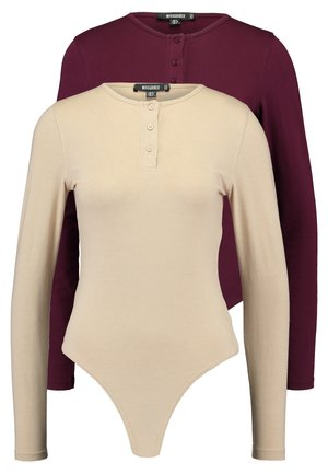 BUTTON UP NECK LONG SLEEVED BODYSUIT 2 PACK - Long sleeved top - camel/burgundy