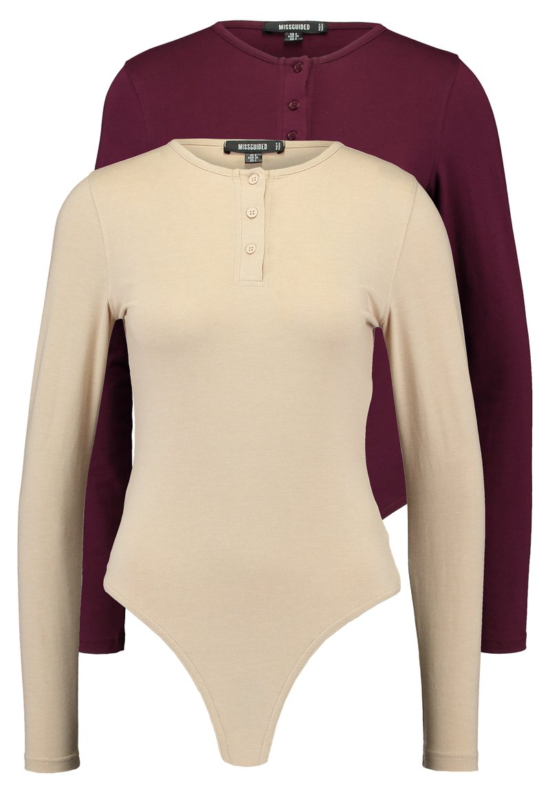 Missguided - BUTTON UP NECK LONG SLEEVED BODYSUIT 2 PACK - Long sleeved top - camel/burgundy