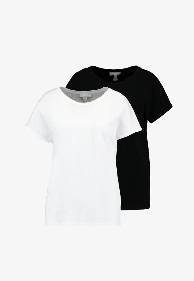 2 PACK SLUB POCKET TEE - T-paita - black/white